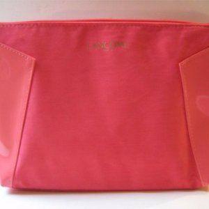 LANCOME Faux Suede Makeup Bag Melon Coral Pink